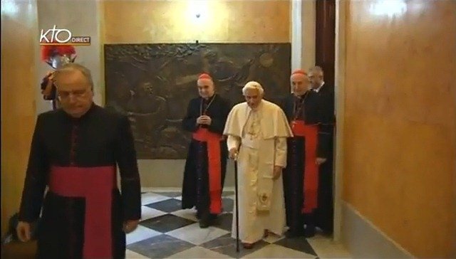 Pope leaving Papal apartment