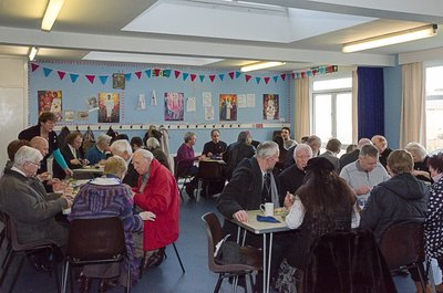 Lunch in the church hall, which Torbay Mission hopes will one day be their own